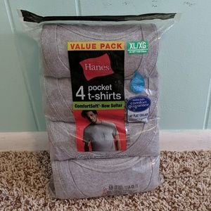 Men's Hanes 4-Pack Grey Pocket T-shirt XL